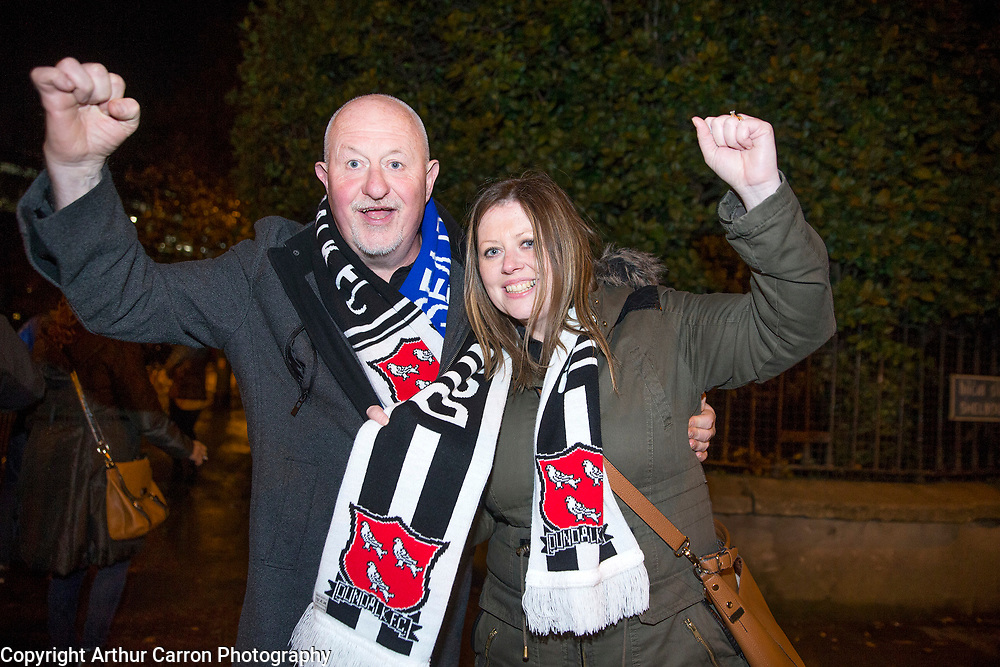 8/11/15 Dundalk fans Dessie Hearty and Lorraine Durnin celebrate winning the FAI Cup final against Cork City at the Aviva stadium. Picture:Arthur Carron