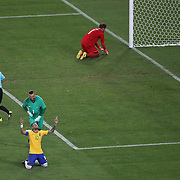 Football - Olympics: Day 15  Neymar #10 of Brazil in tears after scoring the winning penalty kick as team mate goalkeeper Weverton celebrates with Neymar as German goalkeeper Timo Horn #1 is distraught in the penalty area during the Brazil Vs Germany Men's Football Gold Medal Match at Maracana on August 20, 2016 in Rio de Janeiro, Brazil. (Photo by Tim Clayton/Corbis via Getty Images)