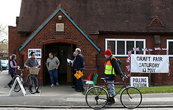 Voters at Trumpington village hall in Cambridgeshire, to cast their ballots in local council elections.