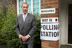 © Licensed to London News Pictures. 23/06/2016. Biggin Hill, UK. UKIP party leader Nigel Farage pauses after voting in the EU referendum. Polls have opened for voting - with counting starting after polls close at 10PM.Photo credit: Peter Macdiarmid/LNP