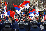 """Cheering """"Kosova is Serbia-Kosovo"""" - """"Kosovo is the heart of Serbia"""" and with flags of Serbia and countries who oppose recognition of the state of Kosova, on Friday, February 22, 2008 -  more than 3.000 Serbs in northern Mitrovica protested against Kosovo's independence. (Photo/Vudi Xhymshiti)"""