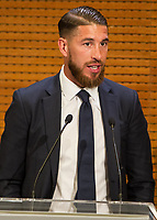 Sergio Ramos during the Real Madrid CF reception at Madrid city hall after winning the Champions League May 29,2016. (ALTERPHOTOS/Rodrigo Jimenez)