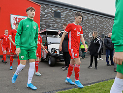 WREXHAM, WALES - Wednesday, October 30, 2019: Wales' Joel Cotterill walks out before the 2019 Victory Shield match between Wales and Republic of Ireland at Colliers Park. (Pic by David Rawcliffe/Propaganda)