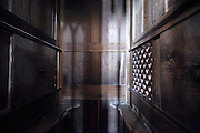 inside a confessional on the priest middle side France