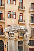 Columns of old church ruins, next to Mohammad Al-Amin Mosque, in front of facades of the newly rebuilt Downtown area, Beirut, Lebanon