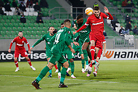 RAZGRAD, BULGARIA - OCTOBER 22: Pieter Gerkens of Antwerp scores with head for 1-1 in 63rd minute during the UEFA Europa League Group J stage match between PFC Ludogorets Razgrad and Royal Antwerp at Ludogorets Arena on October 22, 2020 in Razgrad, Bulgaria. (Photo by Nikola Krstic/MB Media)