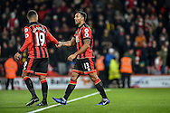 AFC Bournemouth Forward, Callum Wilson (13) celebrates with AFC Bournemouth Midfielder, Junior Stanislas (19) after scoring a penalty 2-0 during the Premier League match between Bournemouth and Arsenal at the Vitality Stadium, Bournemouth, England on 3 January 2017. Photo by Adam Rivers.