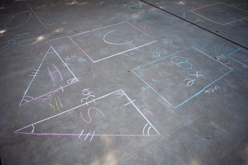 Equations from Lovington schools math intervention specialist Maggie Clayton students done using chalk on the sidewalk. The schools in Lea County are using Recovery and Reinvestement funds to pay for much needed teachers and specialists like Clayton, who also coaches other teachers to help them come up with better ways to involve the students.