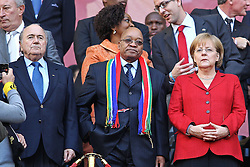03.07.2010, CAPE TOWN, SOUTH AFRICA,  FIFA President Sepp Blatter, South African President Jacob Zuma, German Chancellor Angela Merkel during the Quarter Final, Match 59 of the 2010 FIFA World Cup, Argentina vs Germany held at the Cape Town Stadium EXPA Pictures © 2010, PhotoCredit: EXPA/ nph/  Kokenge