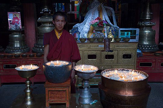 Monk of Nenying Chode Monastery in Tibet. Asia.