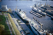 Ships at quayside Mullerpier and Parkhaven, Delfshaven, Rotterdam, Netherlands from Euromast 1971