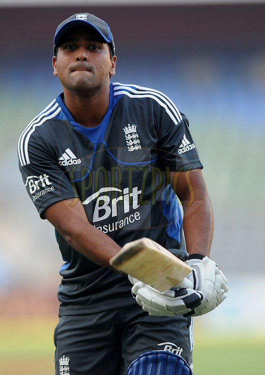 Samit Patel of England bats during a practice session before the start of the  the second Airtel T20 Match between India and England held at Wankhede stadium in Mumbai on the 22th December 2012..Photo by  Pal Pillai/BCCI/SPORTZPICS .