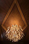 Low angle view of chandelier and ceiling detail of Antico Caffee, Trieste, Italy