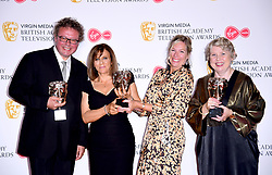 Victoria Mappleback, Amanda Murphy, Sally Angel and Adam Gee in the press room after winning the award for Best Short From Programme at the Virgin Media BAFTA TV awards, held at the Royal Festival Hall in London.