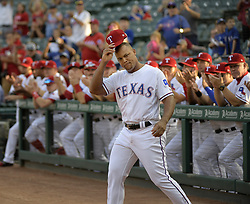 September 8, 2017 - Arlington, TX, USA - Texas Rangers third baseman Adrian Beltre tips his hat to the fans during the celebration of his reaching the 3,000-hit plateau earlier this season, before a game against the New York Yankees at Globe Life Park in Arlington, Texas, on Friday, Sept. 8, 2017. (Credit Image: © Max Faulkner/TNS via ZUMA Wire)