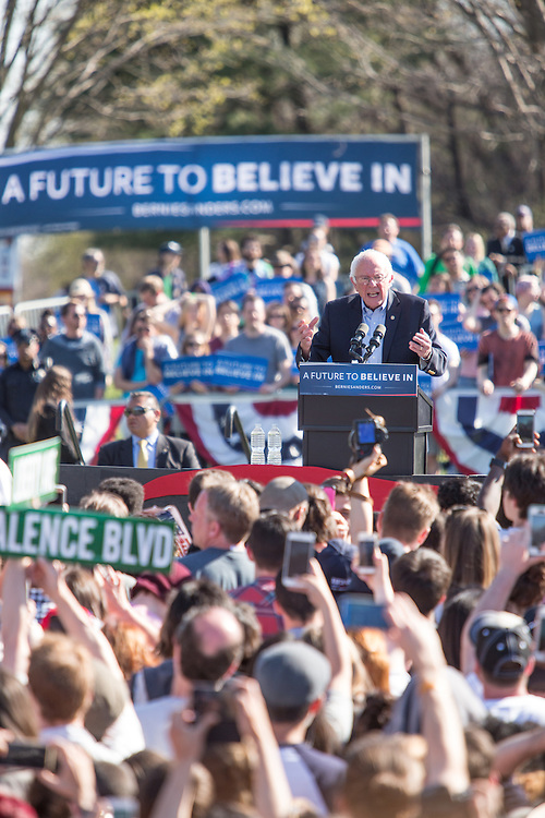 """Brooklyn, NY - 17 April 2016. Vermont Senator Bernie Sanders giving an impassioned speech at the rally. Sanders, who is running as a Democrat in the U.S. Presidential primary elections, held a campaign """"get out the  vote"""" rally in Brooklyn's Prospect Park."""