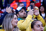 Brazil fans enjoy their national anthem during the International Friendly match between England and Brazil at Wembley Stadium, London, England on 14 November 2017. Photo by Simon Davies.