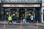 Temporary social distancing bollards are pictured in front of the Duchess of Cambridge public house on 3rd November 2020 in Windsor, United Kingdom. Local businesses are preparing for England's second national lockdown to combat the spread of the coronavirus, which is set to begin on 5th November and to last four weeks.