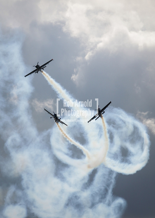 The Blades aerobatic display team performing at the America's Cup event in Portsmouth