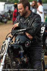 Matt Rush in the Spirit of Sturgis antique motorcycle flat track race at the historic Sturgis Half Mile during the 78th annual Sturgis Motorcycle Rally. Sturgis, SD. USA. Monday August 6, 2018. Photography ©2018 Michael Lichter.