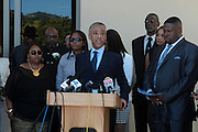 June 30, 2012, Los Angeles, CA: (L-R) Rodeny Kings' daughters, Candice King(R) and Tristain King® along with Rev. Al Sharpton, President, National Action Network attend the Rodney King Funeral held at Forest Lawn Cemetery at Hall Liberty on June 30, 2012 in Los Angeles, California. Rodney Glen King was an American construction worker who became well known after being beaten harshly by Los Angeles police officers during a traffic stop on 3 March 1991. The non-gulity verdict of accused Police Officers ignited the LA Riots in 1992. (Photo by Terrence Jennings)