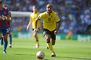 Gabriel Agbonlahor of Aston Villa chasing the  ball. Barclays Premier league match, Crystal Palace v Aston Villa at Selhurst Park in London on Saturday 22nd August 2015.<br /> pic by John Patrick Fletcher, Andrew Orchard sports photography.