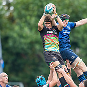 DUBLIN, IRELAND:  October 9:  Andrea Zambonin #5 of Zebre wins a line out while challenged by Ryan Baird #4 of Leinster during the Leinster V Zebre, United Rugby Championship match at RDS Arena on October 9th, 2021 in Dublin, Ireland. (Photo by Tim Clayton/Corbis via Getty Images)