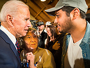 18 JANUARY 2020 - INDIANOLA, IOWA: Former Vice President JOE BIDEN talks to people on the rope line after speaking during a campaign event at Simpson College Saturday. About 250 people came to Simpson College to listen to Vice President talk about his reasons for running for President. Iowa hosts the first event of the presidential election cycle. The Iowa Caucuses are Feb. 3, 2020.       PHOTO BY JACK KURTZ