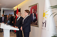 Iyi party leader Meral Aksenar (right) with Saadet Party leader Temel Karamollaoglu (left) during a press conference at the Iyi party headquarters in Anraka, Turkey. February 1st 2018