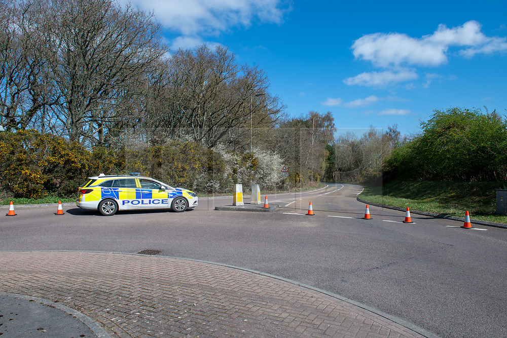 © Licensed to London News Pictures. 02/04/2021. Thatcham, UK. Police maintain a roadblock on Burys Bank Road after a woman, aged in her forties, was found with significant injuries in Crookham Hill, Crookham Common at approximatly 11:45pm on Thursday 01/04/2021 and died from her injuries. A man, aged 35, has been arrested on suspicion of murder. Photo credit: Peter Manning/LNP