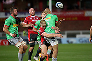 Gloucester's Ollie Thorley Harlequins Aaron Morris  during the Gallagher Premiership Rugby match between Gloucester Rugby and Harlequins at the Kingsholm Stadium, Gloucester, United Kingdom on 14 September 2020.