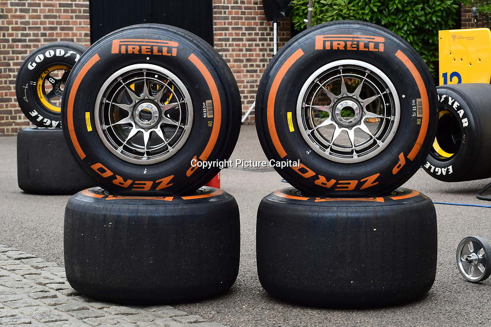 Pirelli tires display at the 2018 Grand Prix Ball held at The Hurlingham Club on July 4, 2018 in London, England.