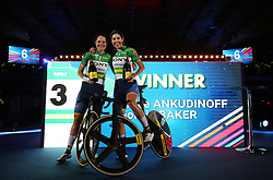 Australia's Ashley Ankudinoff (left) and Georgia Baker following their victory the Women's 20km Madison during day six of the Six Day Series at Lee Valley Velopark, London