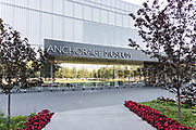 Entrance to the Anchorage Museum in downtown Anchorage, Alaska. The museum is the largest in Alaska and features art from Native Cultures and a variety of artists from Alaska and the world.