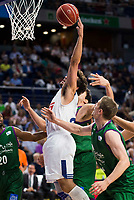 Real Madrid's player Sergio Llull and Unicaja Malaga's player Oliver Lafayette and Dejan Musli during match of Liga Endesa at Barclaycard Center in Madrid. September 30, Spain. 2016. (ALTERPHOTOS/BorjaB.Hojas)