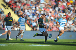 August 25, 2018. Malvinas Argentinas Stadium, Mendoza, Argentina.<br /> HANDRE POLLARD kicks the ball looking for line out formation.