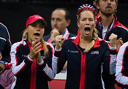 November 10, 2018 - Prague, Czech Republic - Sofia Kenin & Danielle Collins of the United States cheer on their team at the 2018 Fed Cup Final between the Czech Republic and the United States of America (Credit Image: © AFP7 via ZUMA Wire)