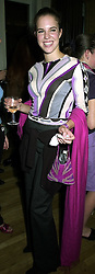 MISS ALEXANDRA AITKEN daughter of disgraced former MP Jonathan Aitken, at a party in London on 19th September 2000.OHC 74