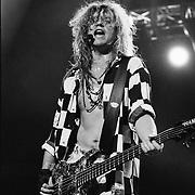 ALLENTOWN - AUGUST 03: Rick Savage of Def Leppard performs on August 03, 1993 in Allentown, Pennsylvania. ©Lisa Lake