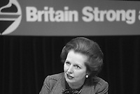 Prime Minister Margaret Thatcher seen at the Conservative Party Conference in 1983.