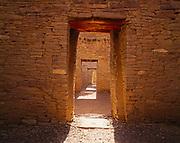 Stone masonry and doorways inside Pueblo Bonito, Chaco Culture National Historical Park, New Mexico.