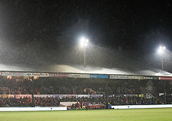 A packed Hazell Stand despite the rain<br /> <br /> Photographer Simon King/Replay Images<br /> <br /> Guinness Pro14 Round 12 - Dragons v Cardiff Blues - Sunday 31st December 2017 - Rodney Parade - Newport<br /> <br /> World Copyright © 2017 Replay Images. All rights reserved. info@replayimages.co.uk - http://replayimages.co.uk