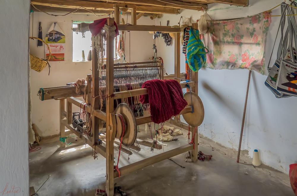 The loom in the Kichwa studio in La Calera, Ecuador.