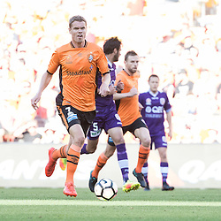 BRISBANE, AUSTRALIA - OCTOBER 30: Thomas Kristensen of the roar dribbles the ball during the round 4 Hyundai A-League match between the Brisbane Roar and Perth Glory at Suncorp Stadium on October 30, 2016 in Brisbane, Australia. (Photo by Patrick Kearney/Brisbane Roar)