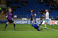Junior Hoilett of Cardiff city goes close to scoring but the assistant referee signals as he is caught offside. EFL Skybet championship match, Cardiff city v Sheffield Wednesday at the Cardiff city stadium in Cardiff, South Wales on Wednesday 19th October 2016.<br /> pic by Andrew Orchard, Andrew Orchard sports photography.