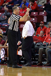 26 November 2016:  Jeff Malham calls a hold or contact foul during an NCAA  mens basketball game between the IUPUI Jaguars the Illinois State Redbirds in a non-conference game at Redbird Arena, Normal IL