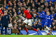 Chelsea defender Ngolo Kante (7) holds back Manchester United Midfielder Paul Pogba (6) during the The FA Cup match between Chelsea and Manchester United at Stamford Bridge, London, England on 18 February 2019.