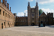 The Quadrangle (Quad) and clocktower at Eton College public school in Berkshire, England, UK
