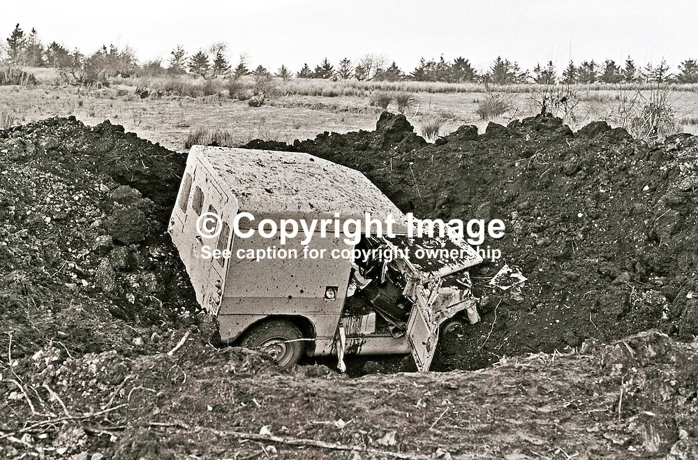 IRA landmine explosion at Cappagh, near Pomeroy, Co Tyrone, in which Reserve Policeman, Henry Sandford, from nearby Cookstown, died. A colleague was seriously injured in the incident which left their landrover in a crater 35 ft wide and 10 ft deep. 197301140028.<br /> <br /> Copyright Image from Victor Patterson, Belfast, UK<br /> <br /> t: +44 28 9066 1296 (from Rep of Ireland 048 9066 1296)<br /> m: +44 7802 353836<br /> e: victorpattersonbelfast@gmail.com<br /> <br /> www.images4media.com<br /> <br /> Please see my full Terms and Conditions of Use at https://www.images4media.com/p/terms-conditions - it is IMPORTANT that you familiarise yourself with them.<br /> <br /> Images used online incur an additional cost. This cost should be agreed in writing in advance. Online images must be visibly watermarked i.e. © Victor Patterson or that of the named photographer within the body of the image. The original metadata must not be deleted from images used online.<br /> <br /> This image is only available for the use of the download recipient i.e. television station, newspaper, magazine, book publisher, etc, and must not be passed on to a third party. It is also downloaded on condition that each and every usage is notified within 7 days to victorpattersonbelfast@gmail.com.<br /> <br /> The right of Victor Patterson (or the named photographer) to be identified as the author is asserted in accordance with The Copyright Designs And Patents Act (1988). All moral rights are asserted.