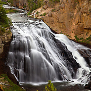 Gibbon Falls is a long and ribbon-like cascade on the Gibbon River that cascades 84 feet over the edge of the Yellowstone Caldera.